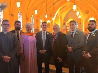 Hilary (aka Long-Skirts) with my husband and 5 of our sons at our son, Blaise's, July 31st Wedding this past Friday in St. Louis, Missouri. Blaise's brother, Fr. Flanery, officiated.