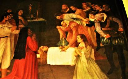 Painting of the dead child---about to be revived.