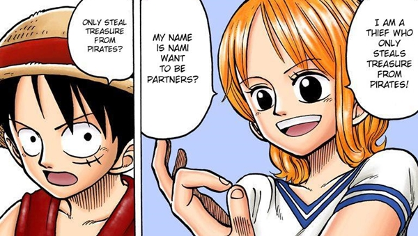 A girl is a thief steals from pirates, called Nami