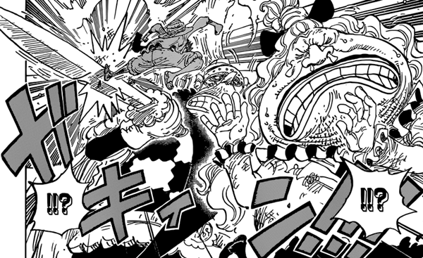 Cracker tries to kill pound but is stopped by Luffy.