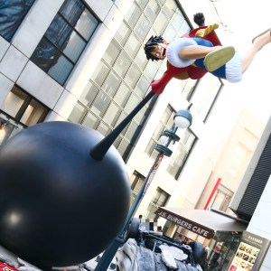 渋谷パルコ等身大ルフィフィギュアがゴムゴムの象銃(エレファントガン)!