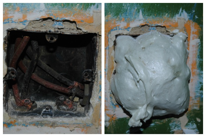Expanding foam in socket