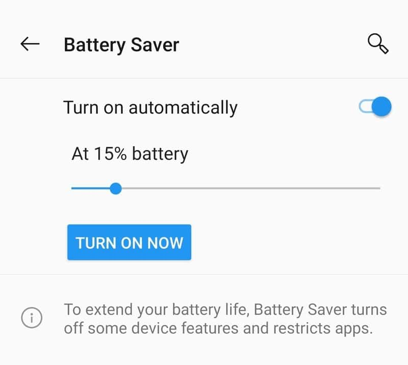 Turn On battery saving Mode to increase the battery life in OnePlus 7