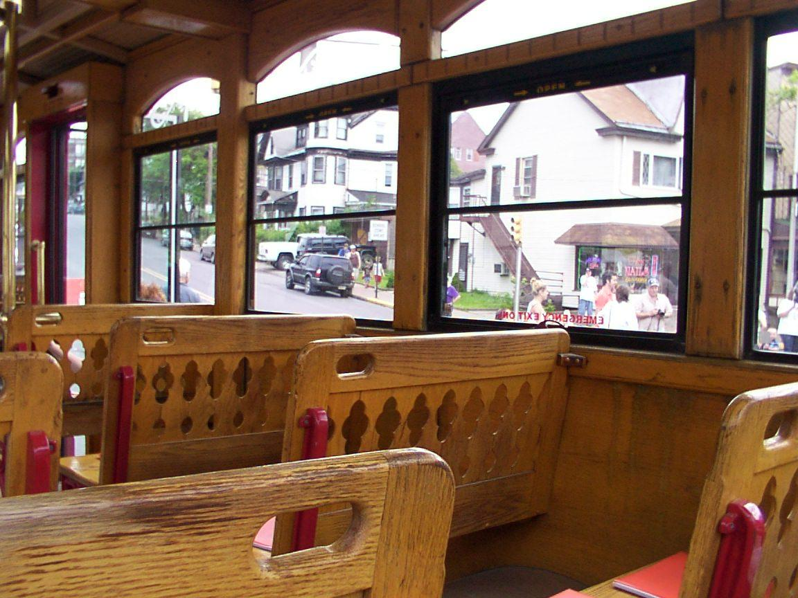 Grand old woodwork in trolley interior
