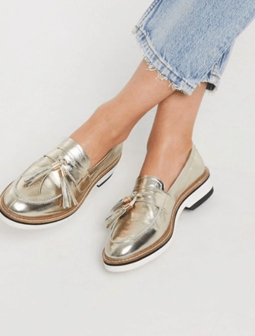 Gold Loafers Fall Fashion