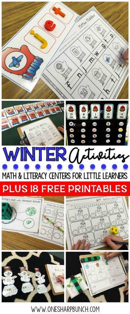 Beat those winter blues with these engaging winter activities for kids and 18 FREE winter printables perfect for preschool, Kindergarten or 1st grade, as well as math and literacy centers!