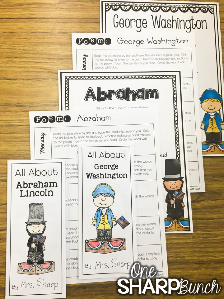 Here's a great collection of President's Day activities for kids, including President's Day crafts, President's Day poems, Abraham Lincoln activities, ideas for patriotic math and literacy centers, and FREE George Washington printables!