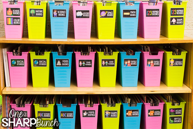 Classroom library organization made easy! We love how this teacher organized her classroom library by theme and by reading level!