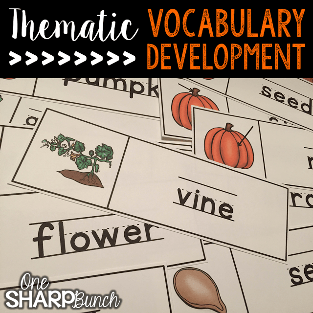 Do your student struggle with learning new vocabulary words? Check out these tips for building vocabulary and making abstract words more concrete! Plus, there are a variety of pumpkin ideas perfect for pumpkin week, like these pumpkin themed vocabulary word wall cards!