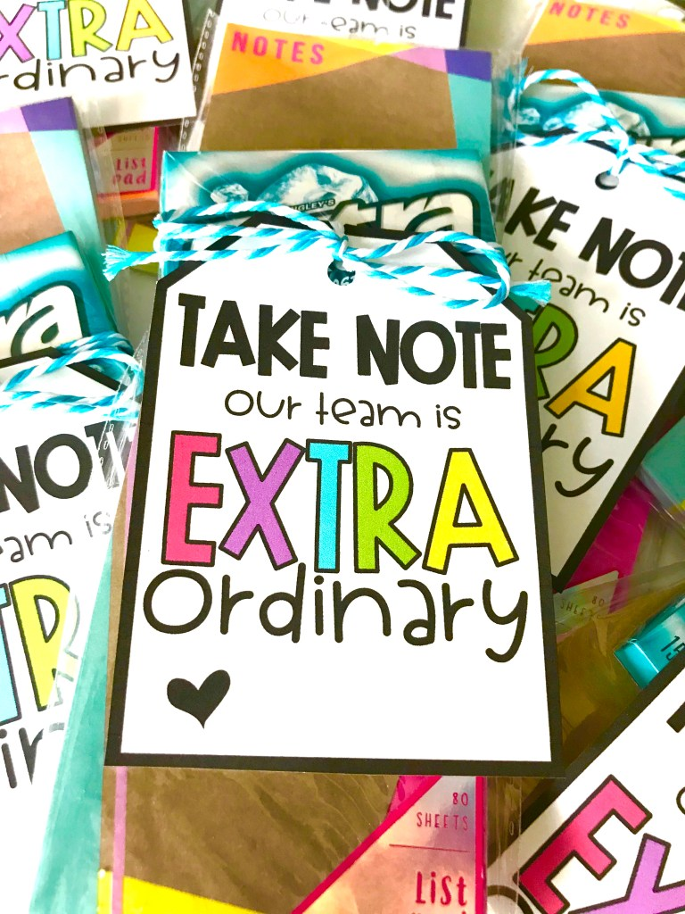 Show your appreciation at back to school with this DIY gift that won't break the bank! This free EXTRAORDINARY gift tag is perfect for teacher gifts, team gifts, coworker gifts or any other special person in your life!