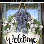Welcome your guests to your farmhouse front porch with this DIY farmhouse door hanger. Create this farmhouse wreath in just 5 easy steps using your Cricut Joy. It's the perfect front door decoration to complement your farmhouse decor!