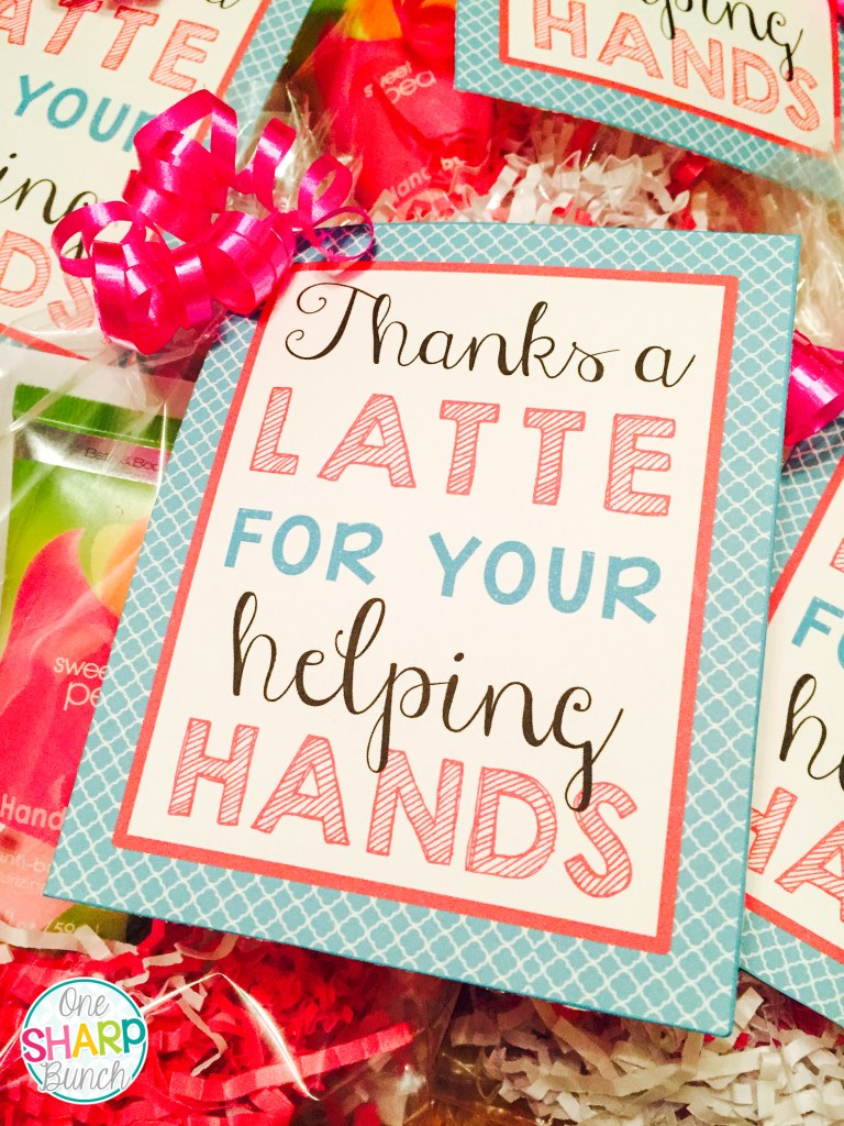As the end of the school year nears, tell your helping hands thank you with one of these simple DIY gifts for classroom volunteers! These affordable end of the year thank you gifts work well for not only parent volunteers, but also secretaries, teammates, custodians and other school staff. Grab the thank you gift tags for FREE!