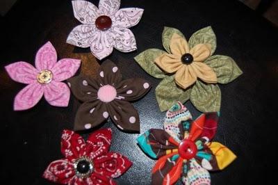 fabric flower hair bow