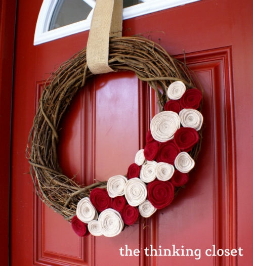 Felt-Flower Wreath Tutorial by The Thinking Closet