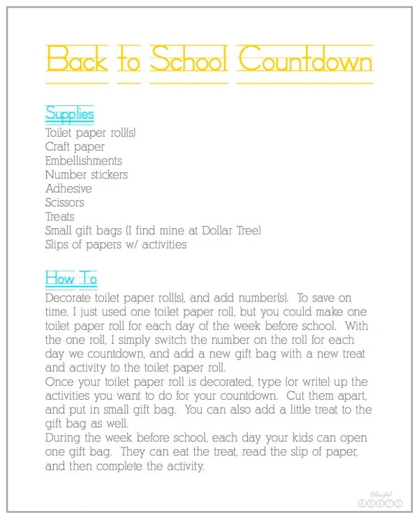 Back to School Countdown Instructions