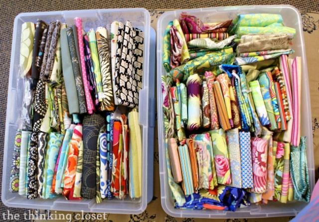 Choosing fabrics for our Amy Butler Origami Bags via thinkingcloset.com