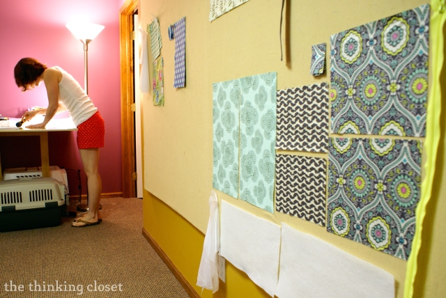 Use a Design Wall to organize fabric in your Sewing Studio via thinkingcloset.com