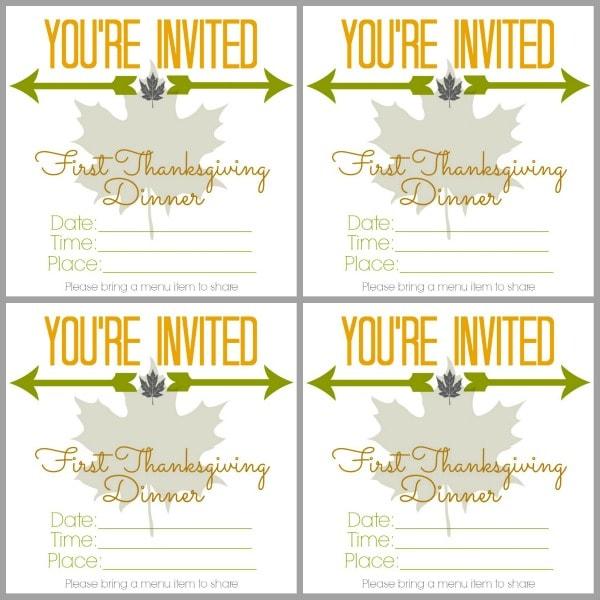 1st Thanksgiving Dinner Invite 2