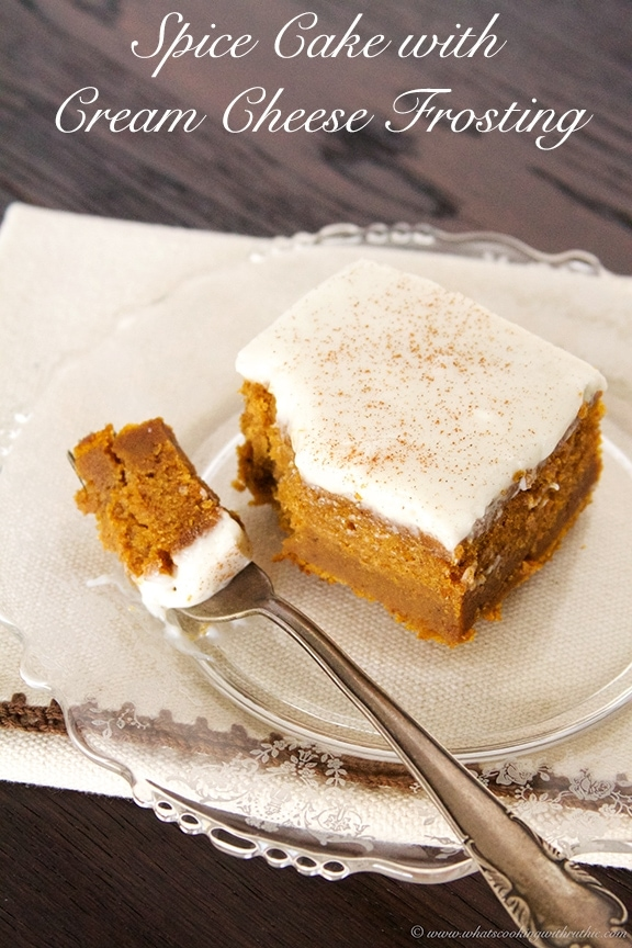 Spice Cake with Cream Cheese Frosting by www.whatscookingwithruthie.com