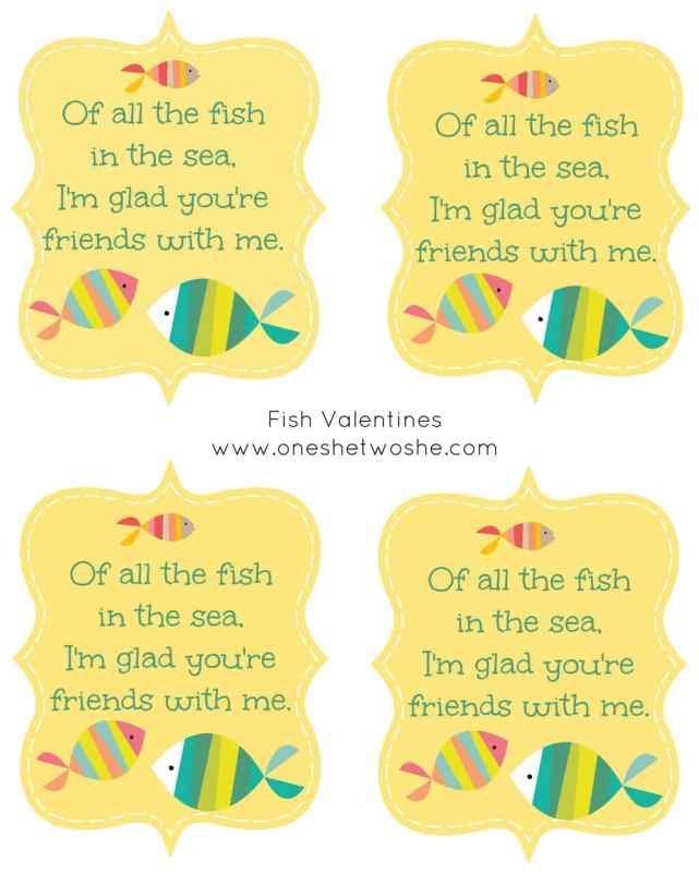 39 Of All The Fish In The Sea 39 Fish Valentine Printable