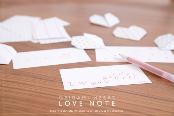 origami valentines, origami heart love notes