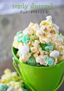 Minty Shamrock M&M Popcorn from Gina @ Kleinworth & Co.
