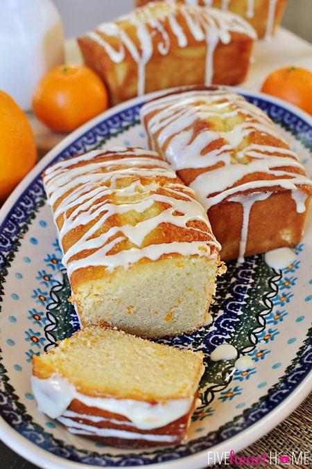 Orange Pound Cake Mini Loaves ~ this moist pound cake tastes like a burst of sunshine! | FiveHeartHome.com for OneSheTwoShe.com