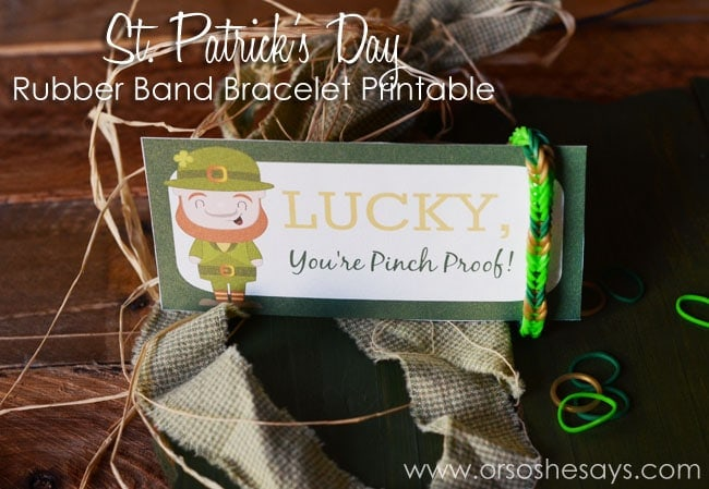 St. Patrick's Day Rubber Band Printable www.orsoshesays.com