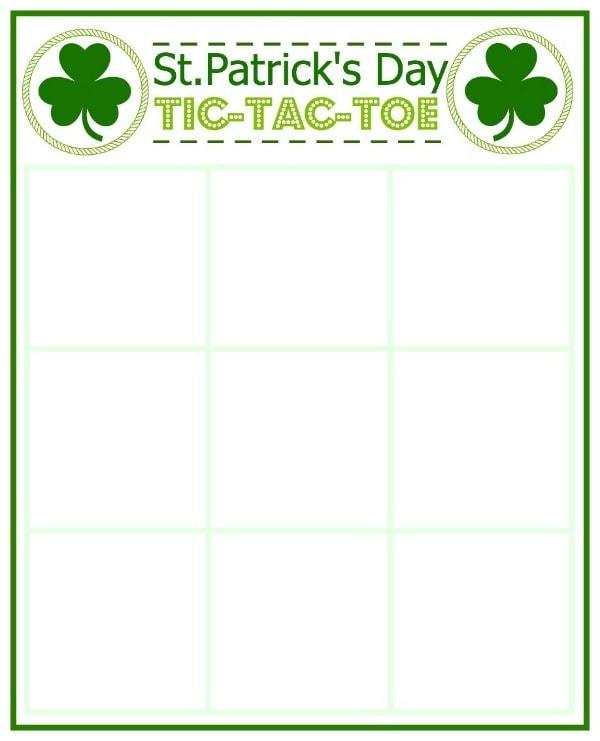St. Patrick's Day Tic-Tac-Toe Board