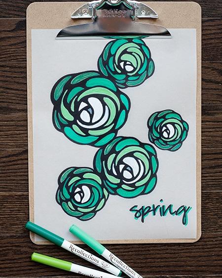 green-marker-spring-print