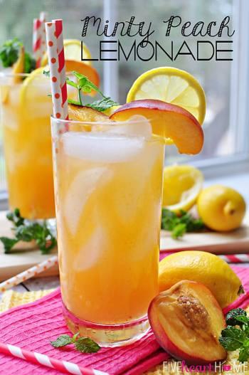 Minty Peach Lemonade | FiveHeartHome.com