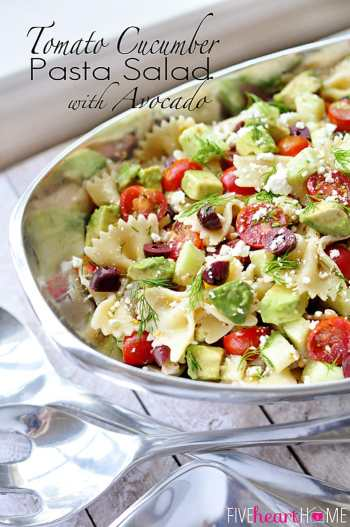 Tomato Cucumber Pasta Salad with Avocado, Olives, Feta, and Dill | FiveHeartHome.com