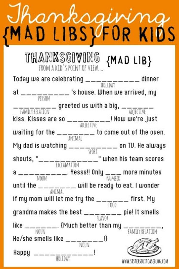 Thanksgiving Madlibs