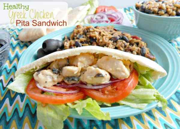 healthy greek chicken pita sandwich