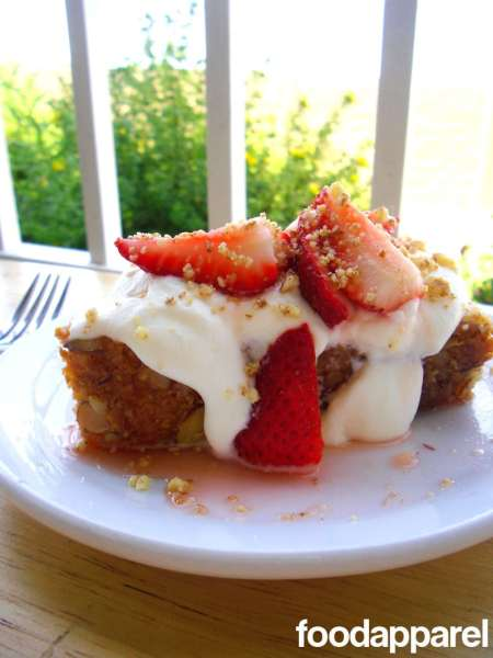 Almond Cake with Lemony Strawberry Topping