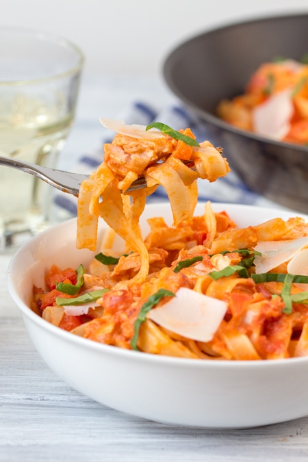 Fettuccine in a Creamy Tomato Sauce with Salmon - on the table in 15 minutes.