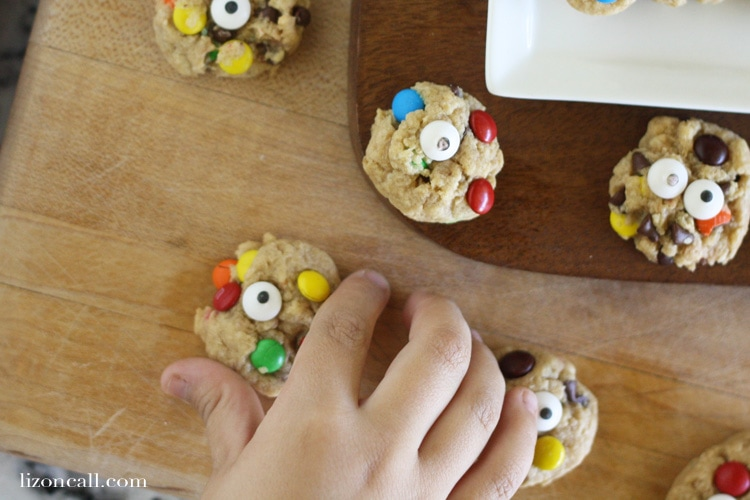 We added candy eyes to our mini monster cookies for added fun