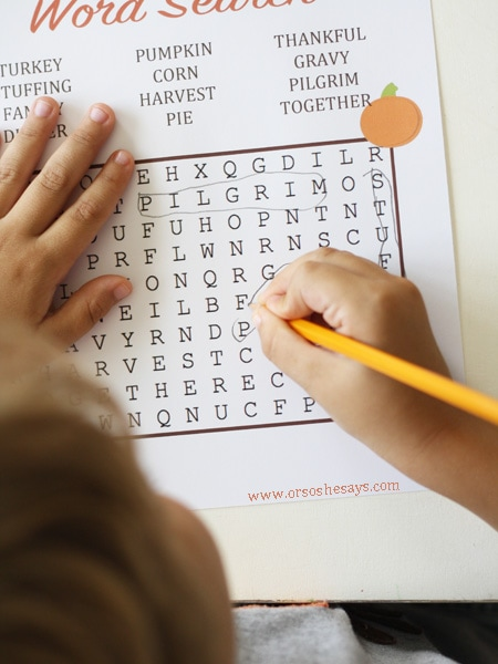 Free printable Thanksgiving word search for (older) kids at www.orsoshesays.com