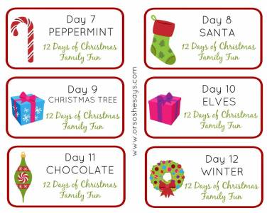 12 Days of Christmas Family Fun ~ Theme Tags Days 7-12