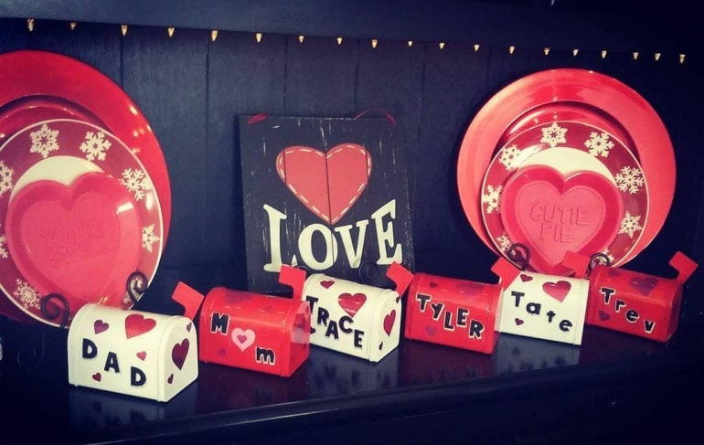 "Nontraditional Valentine Ideas - Dan's four sons enjoy giving ""love"" notes to one another in these mailboxes (even if it is just a note about not farting on each other)."
