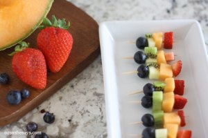 Summer fruit is in season and it is the perfect snack for kids. Get them excited about eating healthy and make some mini fruit kabobs together.