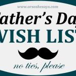 Father's Day Wish List - No Frills or Fuss! See Dan's list on www.orsoshesays.com