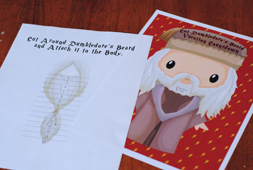 Harry Potter Printables Dumbledore's Beard vacation countdown sheets