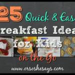 25 Quick & Easy Breakfast Ideas for Kids on the Go - Find the roundup on www.orsoshesays.com.