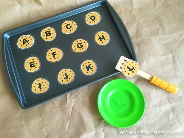 For basic skills like letter recognition, try this fun cookie game Sierra is sharing today. Get the free printable and bake up your own ideas with your little ones at home! Find it all at www.orsoshesays.com.