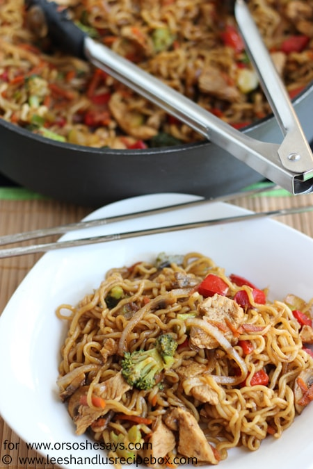 Noodles, chicken and your veggies of choice- Chicken Yakisoba is a one-dish wonder the whole family will love! Get the recipe on www.orsoshesays.com.