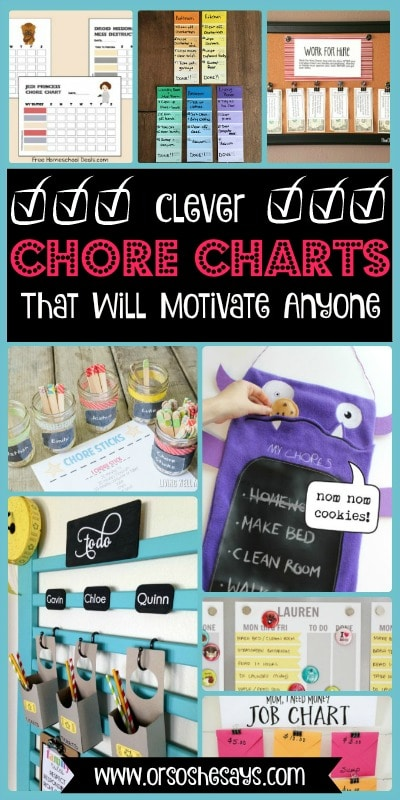 25 Clever Chore Charts That Will Motivate Anyone. See the roundup of ideas at www.orsoshesays.com.