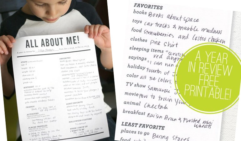 Year in Review ~ Free printable.  This would be fun to do with the kids every year!