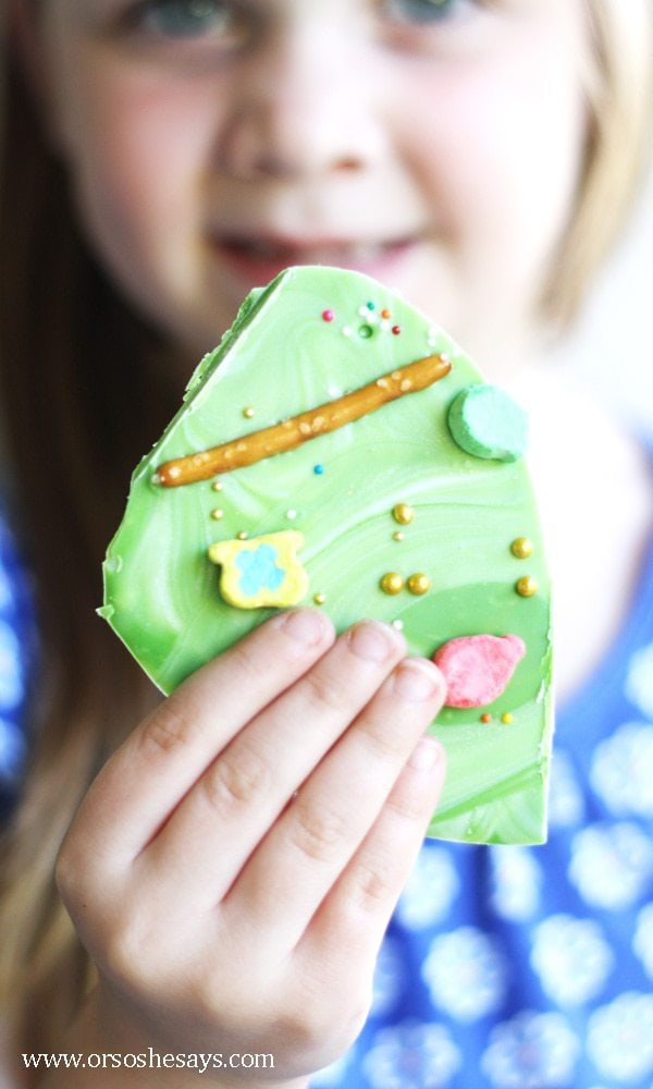 Get the kids to help make this leprechaun bark recipe to get ready for St. Patrick's Day. All the info is on the blog today: www.orsoshesays.com