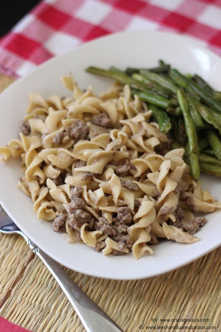 Did you grow up with a certain boxed version of this comfort food? Well, check out Leesh & Lu's lighter take on beef stroganoff that's ready in 20 minutes! Get the recipe on www.orsoshesays.com today.
